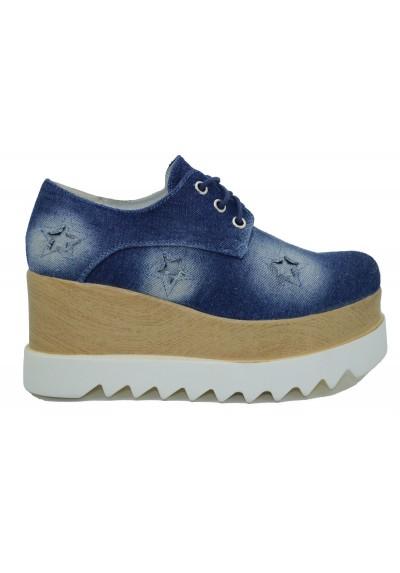 Scarpe donna con platform inglesine con la zeppa sneakers jeans alte con stelle