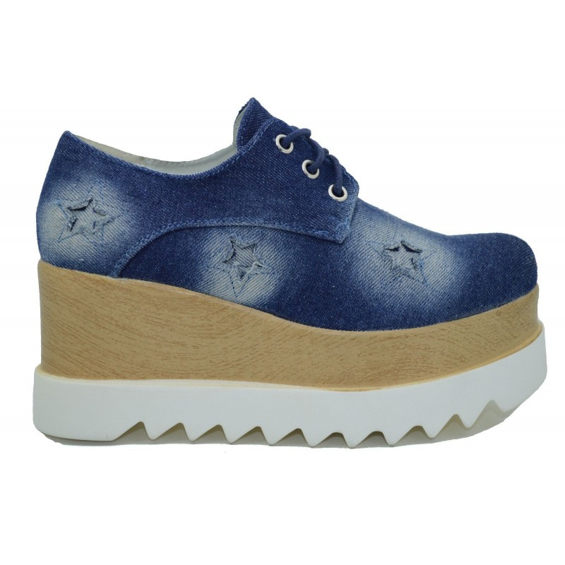 La Scarpe Alte Sneakers La45rj Jeans Zeppa Donna Con Platform Inglesine cAjLq345R