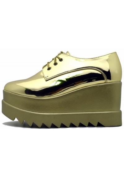 Scarpe donna sandali platform vernice effetto lucido sneakers con zeppa e lacci