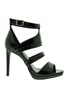 Scarpe sandali donna con tacco alto a spillo lucide scarpe aperte estive nere