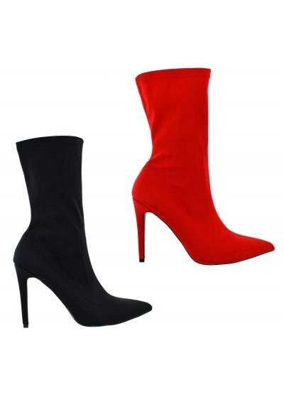 Tronchetti donna in tessuto elasticizzato scarpe a punta stivaletti donna spillo