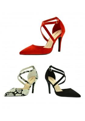 Scarpe eleganti sandali donna a punta camoscio con tacco alto a spillo pitonate