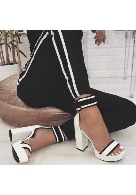 Scarpe aperte donna sandali spuntati con tacco alto e plateau scamosciate estive