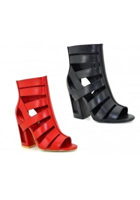 Tronchetti donna aperti scarpe aperte in punta stivaletti con tacco largo comodo