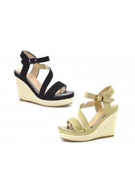 Sandali donna mare con strass tacco plateau camoscio e corda scarpe mare estive