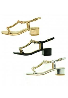 Scarpe donna sandali bassi estivi scarpe aperte mare ciabatte borchie e strass
