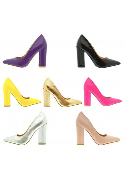all'ingrosso online la migliore vendita Garanzia di qualità al 100% Scarpe donna decoltè a punta tacco largo decollete lucide tacchi alti  vernice