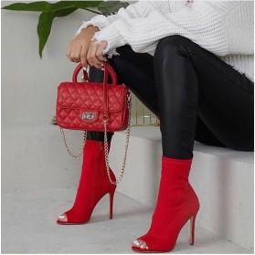 Tronchetti spuntati donna in tessuto elasticizzato scarpe con tacco spillo alto