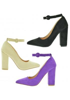 Scarpe donna decoltè a punta scarpe aperte decollete camoscio tacco comodo largo