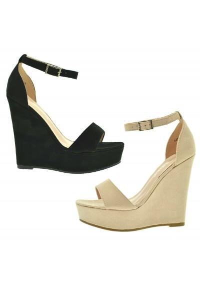 100% authentic 84879 a0bcd Sandali donna spuntati scarpe camoscio aperte estive con la zeppa alta e  plateau