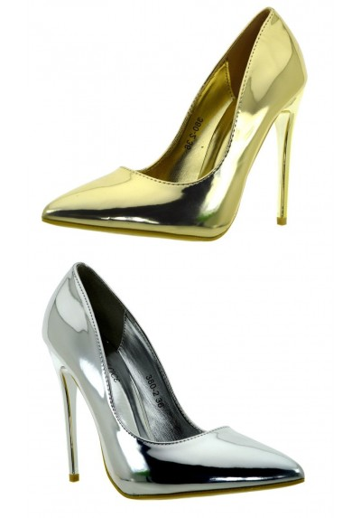 aspetto elegante prezzo basso vendita calda reale Scarpe donna eleganti decolte tacchi alti a spillo argento vernice oro  lucide