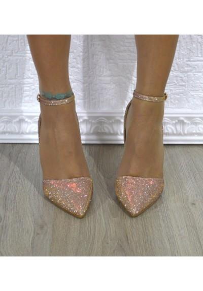 Scarpe donna eleganti stiletto decolletè con tacco da sera in lurex silver