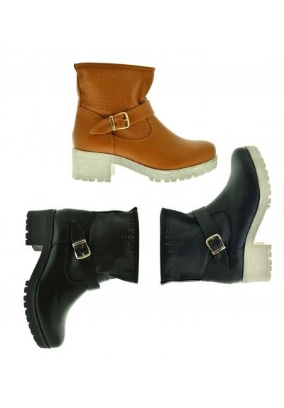 best website 84058 d78fc Tronchetti primaverili stivaletti traforati scarpe da donna stivali con  fibbie
