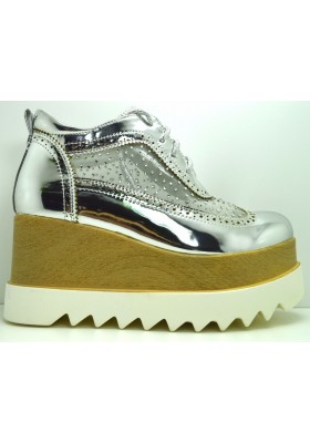 Scarpe donna sandali flatform zeppa 8.5 zatteroni stringati con strass vernice