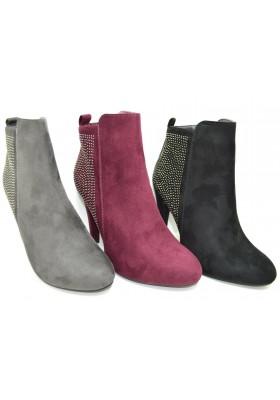 Stivaletto corto tronchetto scarpe donna stivali scamosciati con tacco 10 e zip