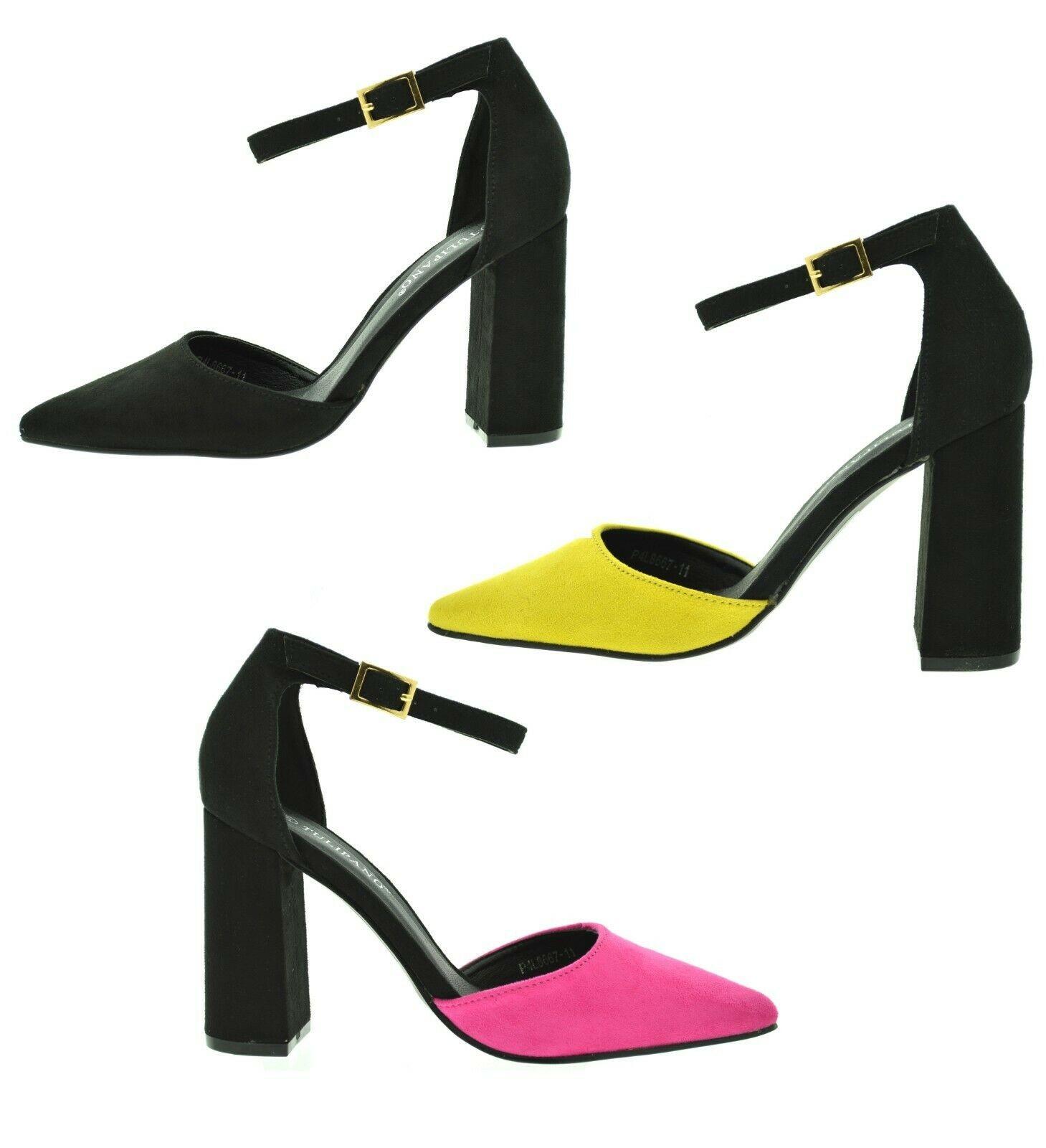 Scarpe donna sandali decolletè a punta scamosciati tacco