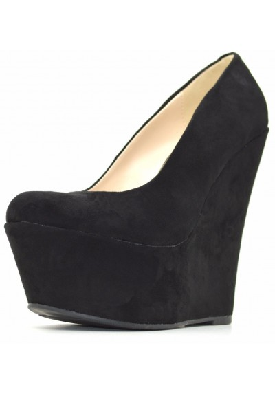 huge discount 7ced1 f769b Decolletè con plateau scamosciate scarpe donna con zeppa decolte alte  camoscio