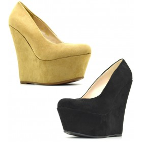 Decolletè con plateau scamosciate scarpe donna con zeppa decolte alte camoscio