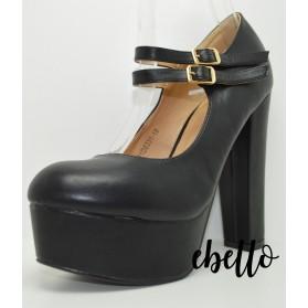Scarpe decolletè plateau tacco alto modello mary jane scarpa elegante con fibbie