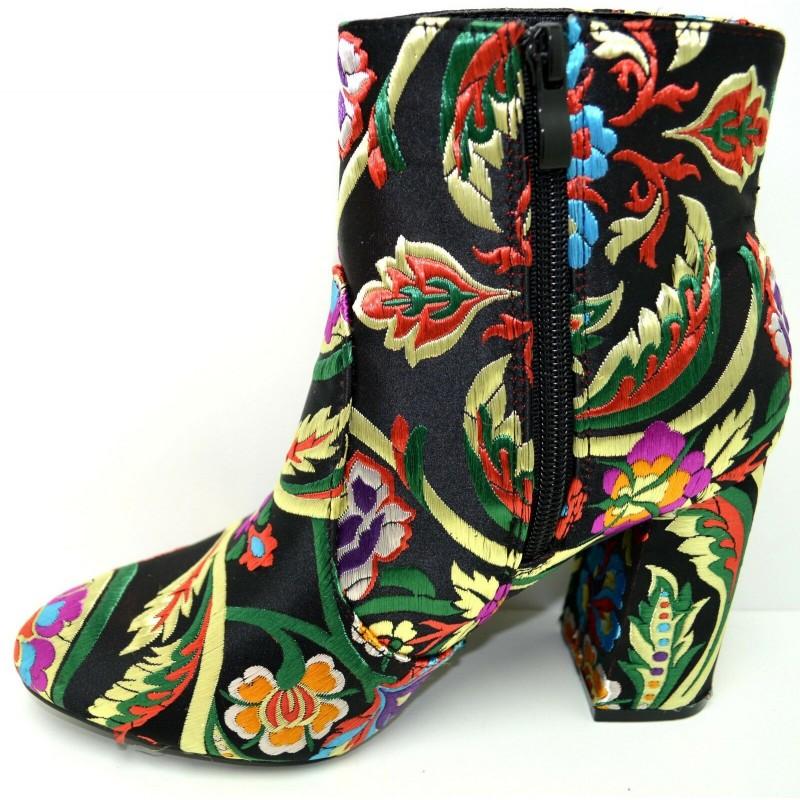 6e86dedc06f8 ... Stivaletti tronchetti scarpe donna con ricamo floreale stivali con  fiori tacco 9 ...