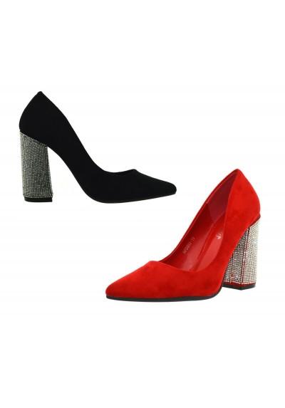 design senza tempo f10a9 ff47b scarpe donna DECOLTè decollete tacco largo alto 12 eco scamosciata con  strass