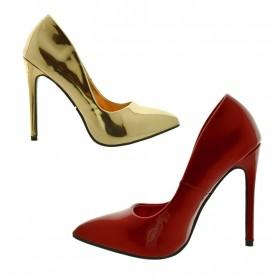 Decoltè donna eleganti Scarpe con tacchi alti spillo rosse vernice oro lucide