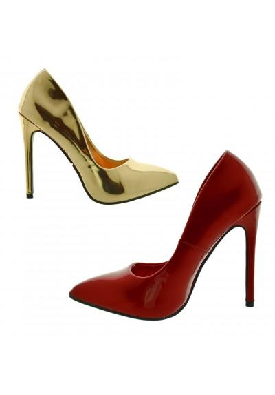 vende prodotto caldo doppio coupon Decoltè donna eleganti Scarpe con tacchi alti spillo rosse vernice oro  lucide