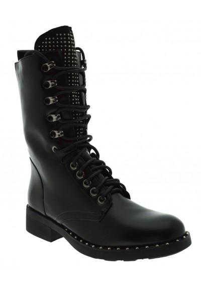 Anfibi donna scarponcini stivali alti militari neri stivaletti strass e borchie