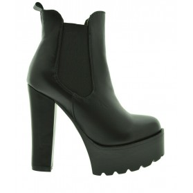 anfibi zeppa alta donna scarpe tacco alto tronchetti neri stivaletti polacchini