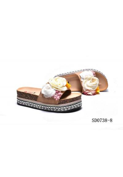 Sandali estivi donna ciabatte mare scarpe camoscio e fiori con zeppa in sughero