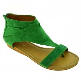 Sandali donna aperti estivi verdi scamosciati scarpe basse con strass infradito