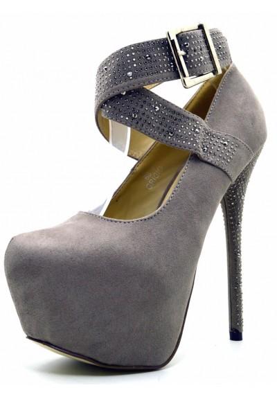 Decolte scamosciata tacco alto decolletè con strass in camoscio scarpe plateau