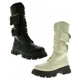 Anfibi donna alti scarponcini stivali militari donna con tasche stivaletti lacci