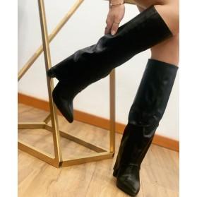 Stivali alti donna al ginocchio stivaletti a punta in ecopelle scarpe tacco alto