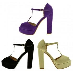 Scarpe donna sandali spuntati con tacco alto e plateau con fibbia scamosciati 2021