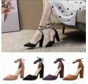 Scarpe Decolletè donna camoscio decolte a punta tacco largo eleganti con lacci