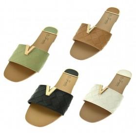 Sandali donna aperti estivi scarpe basse con fascia logo v fresche mare colorate