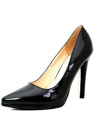 758314633d8a4f Scarpe donna decoltè nere con tacco spillo decollete lucide tacchi alti  vernice