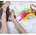 Sandali alla schiava con 4 lacci intercambiabili colorati scarpe estive aperte