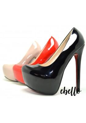 Decolletè con plateau scarpe donna tacco a spillo alto scarpa in vernice lucida