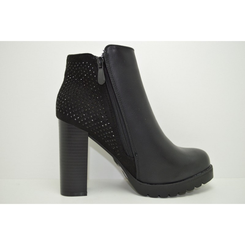 ... Scarpa tronchetto donna tacco alto scarpe con strass mary jane glitter  decolte ... 6bc55a509bb