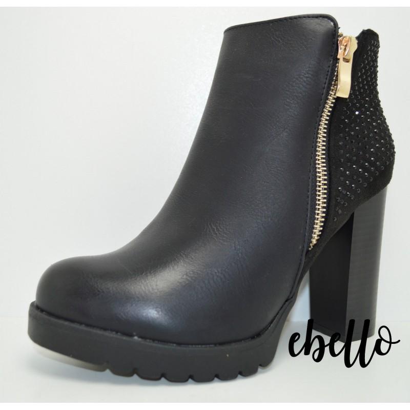 Scarpa tronchetto donna tacco alto scarpe con strass mary jane glitter  decolte ... e7e64f250a9
