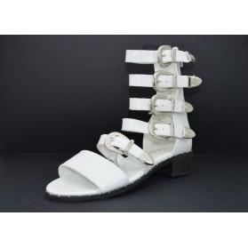 Sandali donna bassi neri estivi gladiatore schiava con fibbie borchie e zip