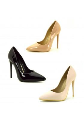 Scarpe donna decoltè nere con tacco spillo decollete lucide tacchi alti vernice