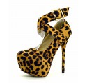 Scarpe donna decoletè leopardate tacco alto decollete scamosciate con plateau