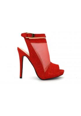 Tronchetto donna rosso Scarpe aperte stivaletto spuntato con tacco alto e strass