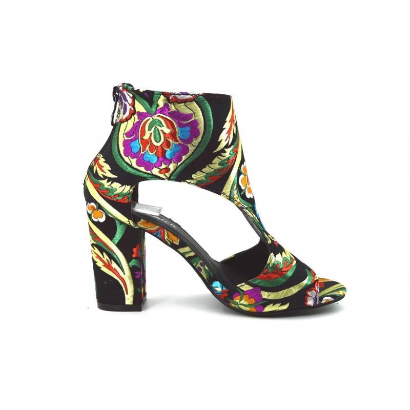 acb9217da6c5 ... Stivaletti tronchetti scarpe donna con ricamo floreale stivali con  fiori tacco 9