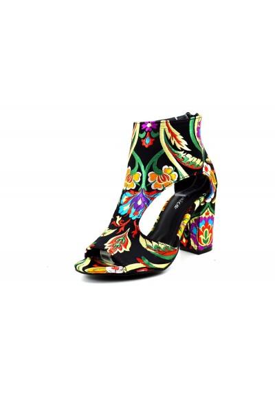 4eba80c511b0 Stivaletti tronchetti scarpe donna con ricamo floreale stivali con fiori  tacco 9