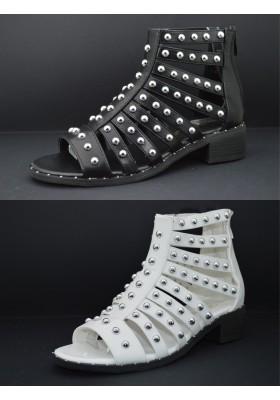 Scarpe Donna Sandali Bassi Alla schiava tacco basso stivali estivi con borchie
