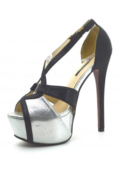 945ffa6daa70c6 scarpe donna DECOLTè decollete tacco alto 15 colore metallizzo Mary Jane  plateau